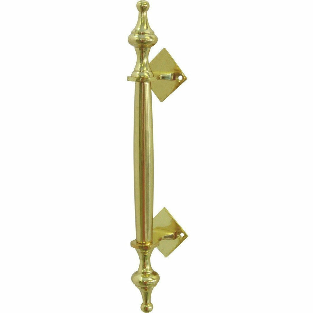 Solid brass pull handle with finials - 295mm - Decor Handles
