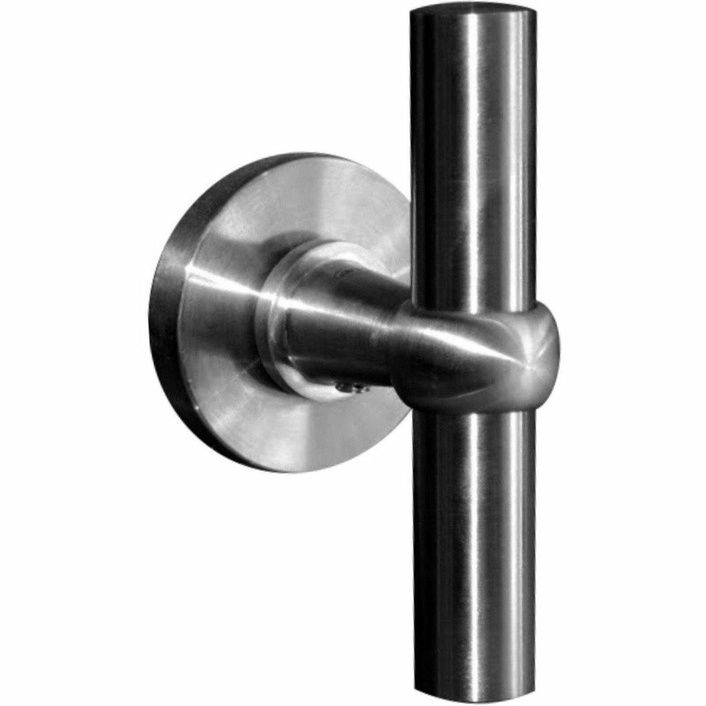 Solid stainless steel lever handle on rose T