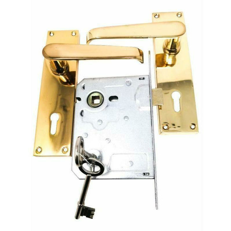 Solid brass lever handle on plate with lock - Decor Handles