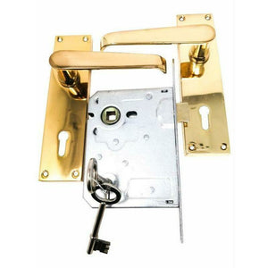 Solid brass lever handle on plate with lock
