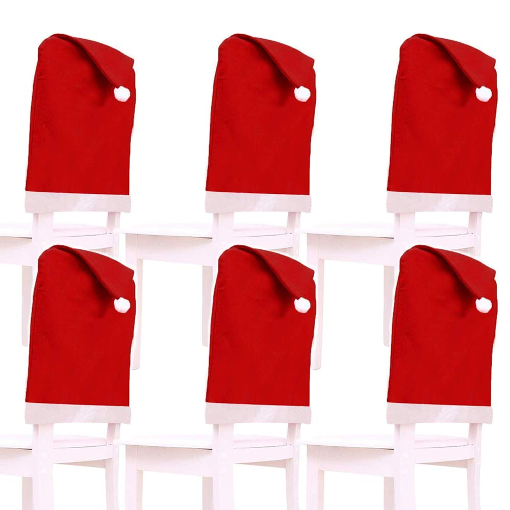 6-Pack Christmas Santa Clause Red Hat Chair Covers Set