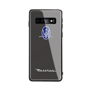 3D Logo Car Design Drop Resistance Tempered Glass Phone Case For Samsung Galaxy Note8 Note9