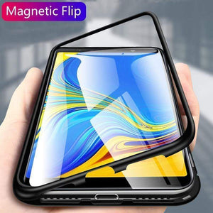 Samsung Metal Magnetic Adsorption Frame Clear Tempered Glass Phone Cases for A7(2018) A9(2018)