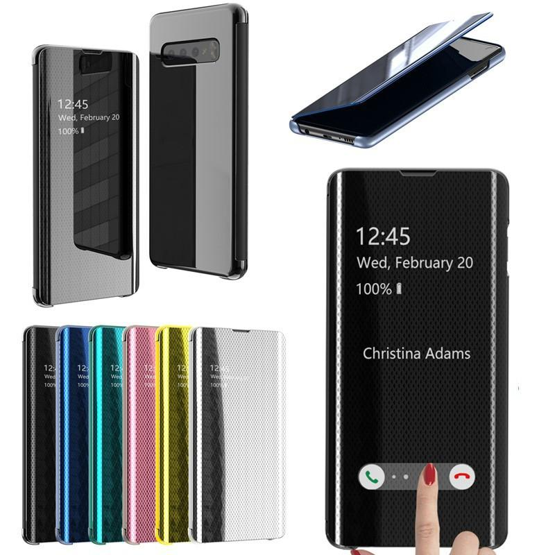Samsung S10/S10Plus/S10E 2019 New Upgrade Fourth-Generation No Need to Flip to Answer The Call Smart Electroplate Mirror Flip Phone Case