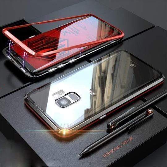 SAMSUNG A3  A5 A7 (2017)  A8 (2018)  A6+ (2018) ANTI-KNOCK METAL MAGNETIC FRAME 9H TRANSPARENT Glass Protective Case