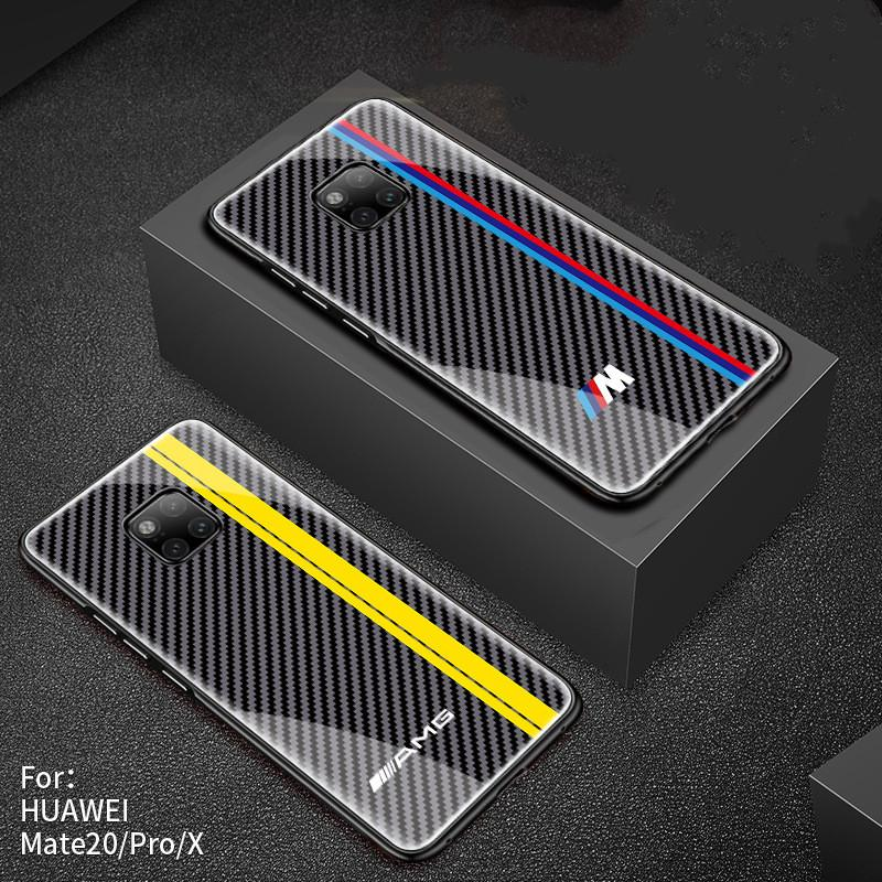 Car 3D Logo Design Anti-Drop Glass Phone Case For Huawei Mate 20 / Mate 20 Pro