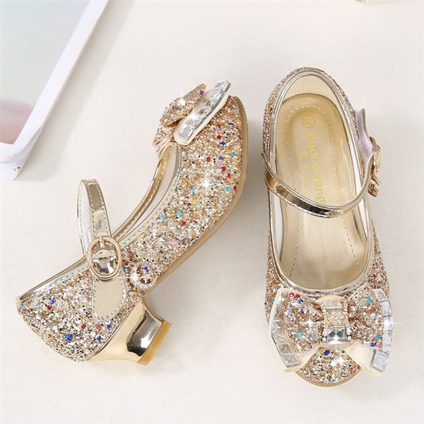 Girls Lovely Sequined Heel Sandals Cartoon Shoes