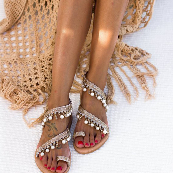 Women Summer Pearl Open Toe Sandals
