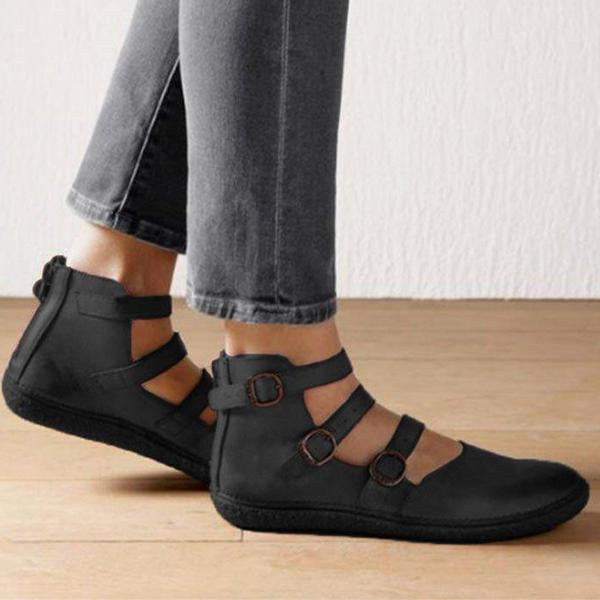 Adjustable Flat Shoes Women's Leather Footwear