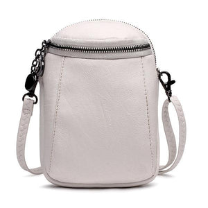 Woman Round Little Phone Bag Casual PU Crossbody Bag Bucket Bag Vintage Bag