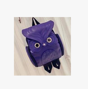 Female Korean Version Retro Backpack, Adjustable Strap, Top Handler, Side Pocket, Owl Design - [1-Blue] - TheRightBuy4BackPacks.com