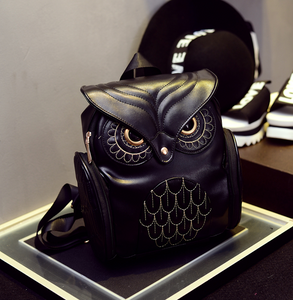 Female Korean Version Retro Backpack, Adjustable Strap, Top Handler, Side Pocket, Owl Design - [1-Black] - TheRightBuy4BackPacks.com