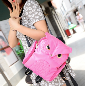 Young Women Wearing Female Korean Version Retro Backpack, Adjustable Strap, Top Handler, Side Pocket, Owl Design - [1-Pink] - TheRightBuy4BackPacks.com