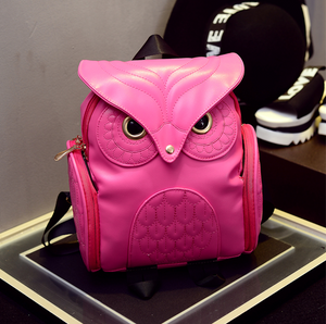 Female Korean Version Retro Backpack, Adjustable Strap, Top Handler, Side Pocket, Owl Design - [1-Fabric Rose] - TheRightBuy4BackPacks.com