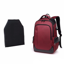 Load image into Gallery viewer, Bullet Proof Ballistic School Bag NIJ IIIA 3A Rated Safety Plate for Body Armor Backpack, Adjustable Strap, Top Handler, Front Pocket, Side Pocket, Zipper, USB Charging Port  - [1-Cranberry] - TheRightBuy4BackPacks.com