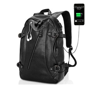 USB Charging Leather Backpack for Men For Travel - [variant-title] - TheRightBuy4BackPacks.com