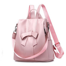 Load image into Gallery viewer, Designer Backpacks For Teenage School Girls Going Back To School, Adjustable Strap, Top Handler, Sling Strap, Ribbon Design - [1-Pink] - TheRightBuy4BackPacks.com