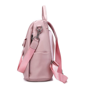 Side Viewed Designer Backpacks For Teenage School Girls Going Back To School, Adjustable Strap, Top Handler, Sling Strap, Ribbon Design - [1-Pink] - TheRightBuy4BackPacks.com