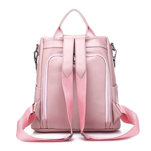 Back Viewed Designer Backpacks For Teenage School Girls Going Back To School, Adjustable Strap, Top Handler, Sling Strap, Ribbon Design - [1-Pink] - TheRightBuy4BackPacks.com