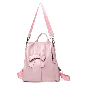Designer Backpacks For Teenage School Girls Going Back To School, Adjustable Strap, Top Handler, Sling Strap, Ribbon Design - [1-Pink] - TheRightBuy4BackPacks.com