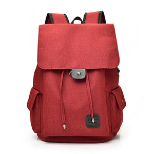 Fashion USB Chargeable  Backpack, Adjustable Strap, Top Handler, USB Charging Port - [1-Red] - TheRightBuy4BackPacks.com