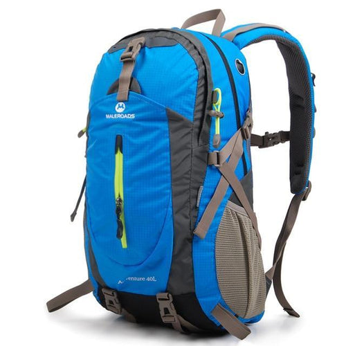 Camping Gear Backpack, Adjustable Strap, Top Handler, Front Pocket, Zipper, Side Pocket - [1-Blue] - TheRightBuy4BackPacks.com