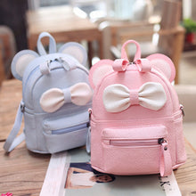 Load image into Gallery viewer, Cute Bow Highlights Girls Back Pack, Adjustable Strap, Top Handler, Lower Pocket, Side Pocket, Zipper - [2-Pink and Blue] - TheRightBuy4BackPacks.com