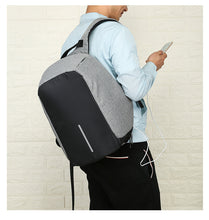 Load image into Gallery viewer, Men Wearing Business USB Backpack with Interior Cell Phone Pocket, Top Handler, Adjustable Strap - [1-Gray] - TheRightBuy4BackPacks.com