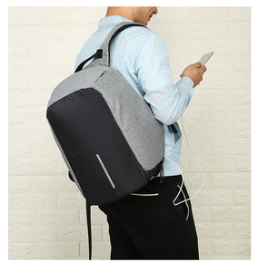 Men Wearing Business USB Backpack with Interior Cell Phone Pocket, Top Handler, Adjustable Strap - [1-Gray] - TheRightBuy4BackPacks.com