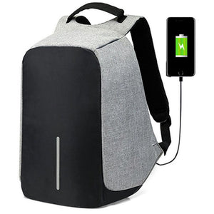 Business USB Backpack with Interior Cell Phone Pocket, Top Handler, Adjustable Strap - [1-Gray] - TheRightBuy4BackPacks.com