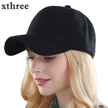 Load image into Gallery viewer, Warm solid Wool and Cotton baseball cap -hat gorras fitted hats for women or Men by Xthree