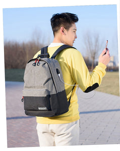 Two-Tone USB Port Backpack - [variant-title] - TheRightBuy4BackPacks.com