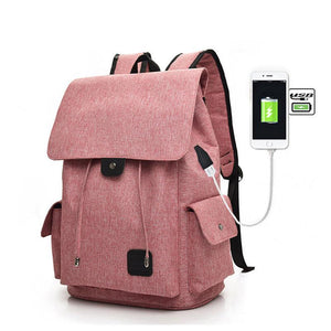 Fashion USB Chargeable  Backpack, Adjustable Strap, Top Handler, USB Charging Port - [1-Pink] - TheRightBuy4BackPacks.com