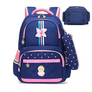 Kids School Bag, Adjustable Strap, Top Handler, Pouch, Lower Pocket, Side Pocket, Zipper - [1-Blue Girl] - TheRightBuy4BackPacks.com