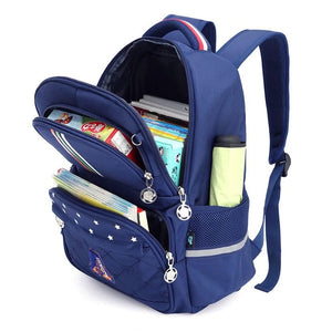 Open Viewed Kids School Bag, Adjustable Strap, Top Handler, Pouch, Lower Pocket, Side Pocket, Zipper - [1-Blue Boy] - TheRightBuy4BackPacks.com