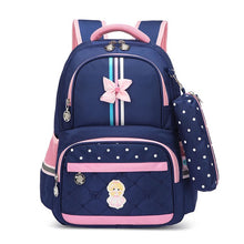 Load image into Gallery viewer, Kids School Bag, Adjustable Strap, Top Handler, Pouch, Lower Pocket, Side Pocket, Zipper - [1-Blue Girl] - TheRightBuy4BackPacks.com