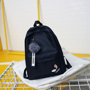 Backpack Bags For Teenage Girls, Adjustable Strap, Top Handler, Front Pocket, Zipper - [1-Black Leaf] - TheRightBuy4BackPacks.com