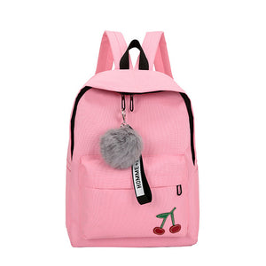 Backpack Bags For Teenage Girls, Adjustable Strap, Top Handler, Front Pocket, Zipper - [1-Pink Cherry] - TheRightBuy4BackPacks.com