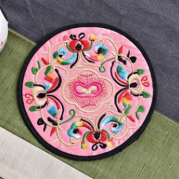 Embroidered flower coaster
