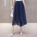 Women Loose Chiffon Wide Leg Pants Casual High Waist Boho Trousers Solid Female Harem Pants