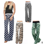 Wide Leg Loose  Pajama Print Drawstring Pants