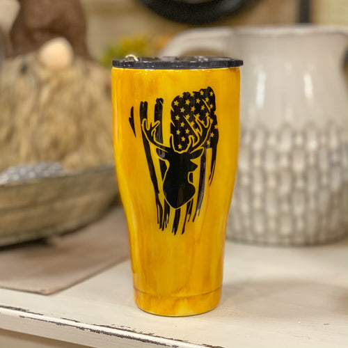 Yellow Woodgrain Deer Tumbler