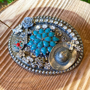 Tuqouise Flower Belt Buckle