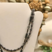 Hematite Hearts & Bars Double Strand Necklace