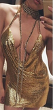 Sexy V-Neck Backless Sequins Dress