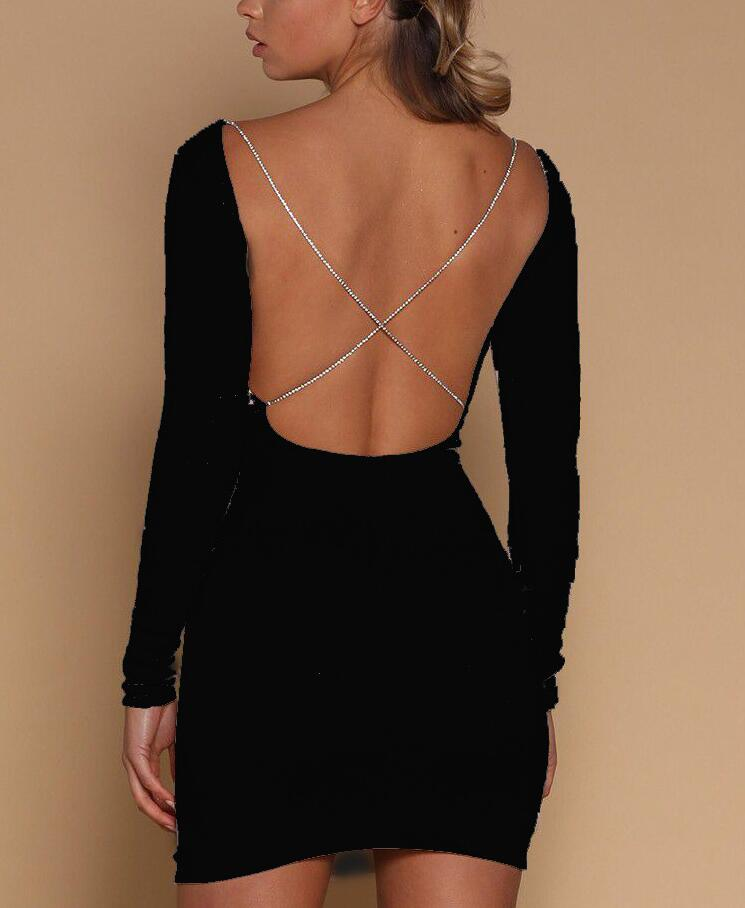 Long Sleeve Sexy Backless Dress