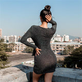 Women's Long Sleeve V-neck Slim Dress