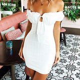 White Sexy Short Sleeve Dress