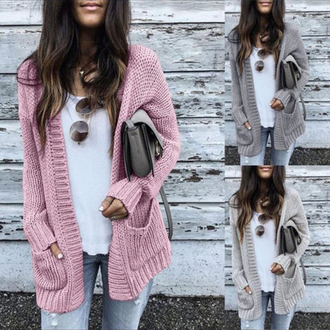 Casual Solid Color Long Sleeve Cardigan Sweater