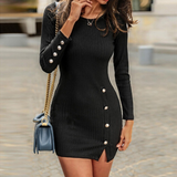 Sexy Button Bag Hip Long Sleeve Dress